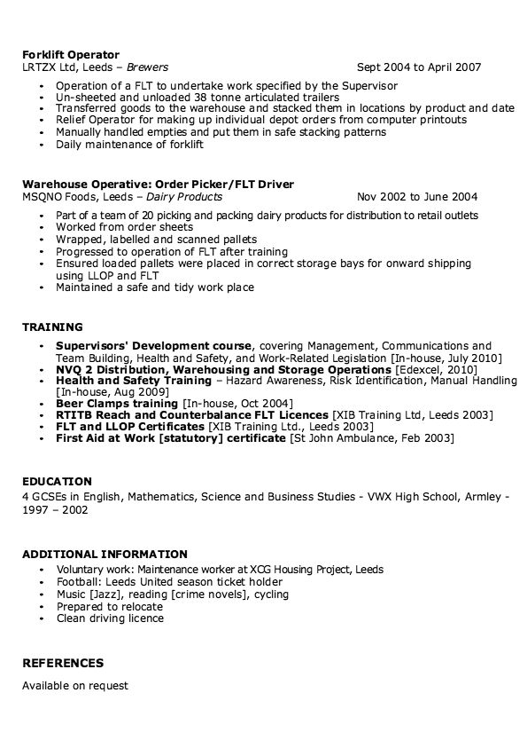sample of warehouse supervisor resume
