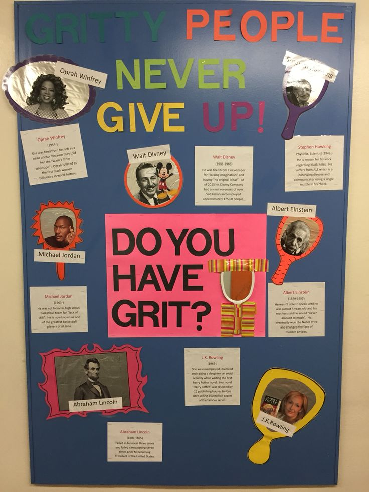 Our Schools Bulletin Board For The Character Strength Grit