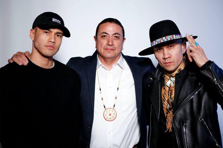 Taboo (Black Eyed Peas) (r), Chairman Dave Archambault II (m) and Martin Sensmeier. by @Lowell A. Meyer