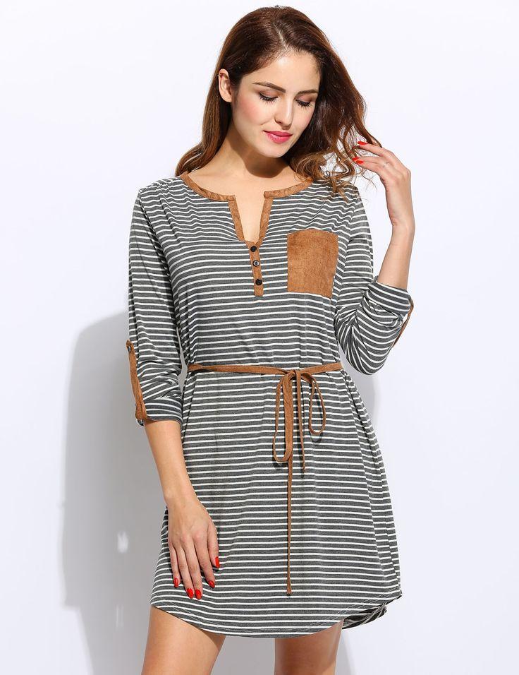 Women Casual Henley Neck Long Sleeve Striped Short Dress with Belt