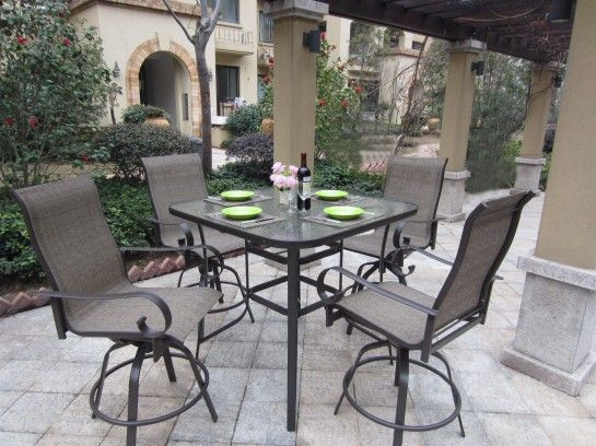 Patio Furniture Captivating Outdoor Patio Dining Furniture Sets Of Vintage  High Back Sling Chairs Above Square