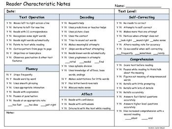 Use the Guided Reading Reader Characteristic Anecdotal Notes Form while completing running records with your students or as you are assessing students' reading during Guided Reading.Assess reader characteristics in 5 areas, including text operations, decoding skills, self-correcting skills, fluency, comprehension, and affect.