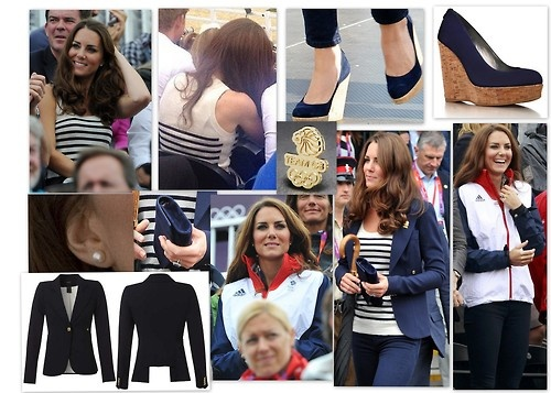 July 31, 2012, Tuesday. William, Kate and Harry, along other members of the royal family, were again present to watch the final day of Zara's Olympic equestrian competition where she Zara and her teammates took silver. Kate wore her navy skinny jeans, possibly Zara or J Brand 811, navy Smythe Blazer over a sleeveless top in a black Breton stripe, and her Stuart Weitzman for Russell & Bromley Coco (Corkswoon) wedges in navy suede. When the rain came, Kate covered up with a Team GB Adida