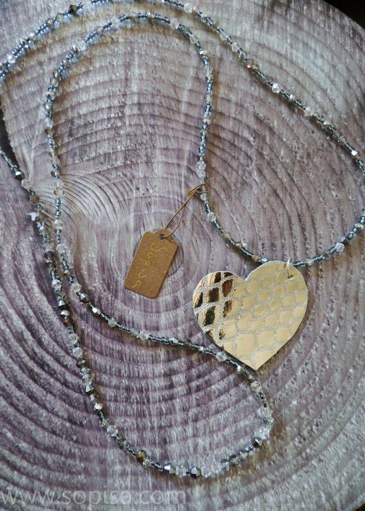 Aria Pendant Necklace. Sopisa #longnecklace #leatherpendant #heartnecklace #grey #silvernecklace #greyjewelry #jewelry