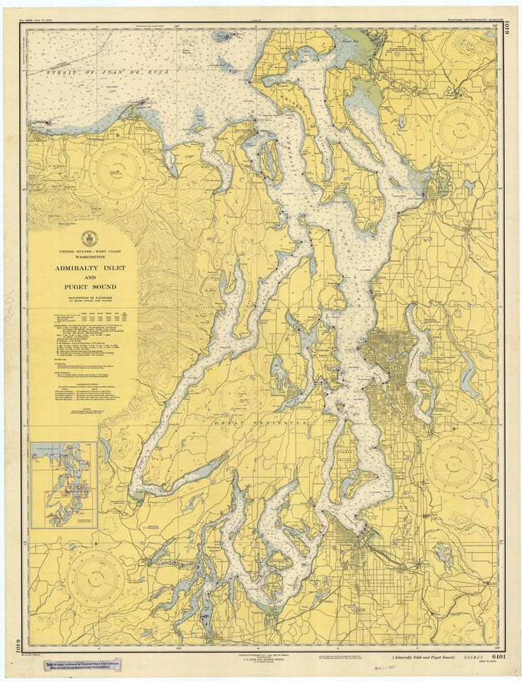 Puget Sound Admiralty Inlet Historical Map 1948