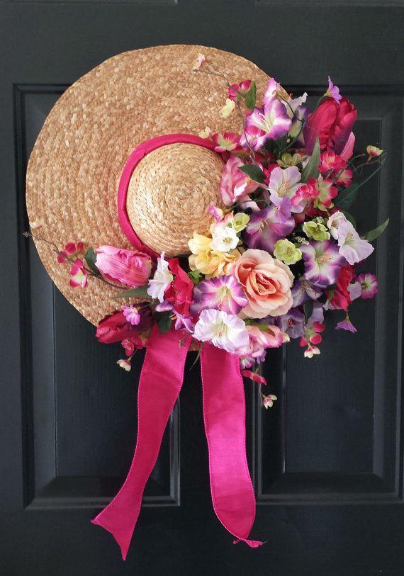 Straw Hat Spring Wreath Summer Wreath Beauty by KraftsByViktorija - Emerald Lily Craft Studio, $49.00