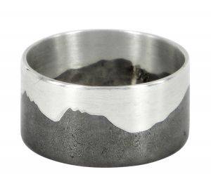 Cradle Mountain Tasmania ring in sterling silver and shibuichi - $300 http://www.lordcoconut.com/shop/cradle-mountain-ring/