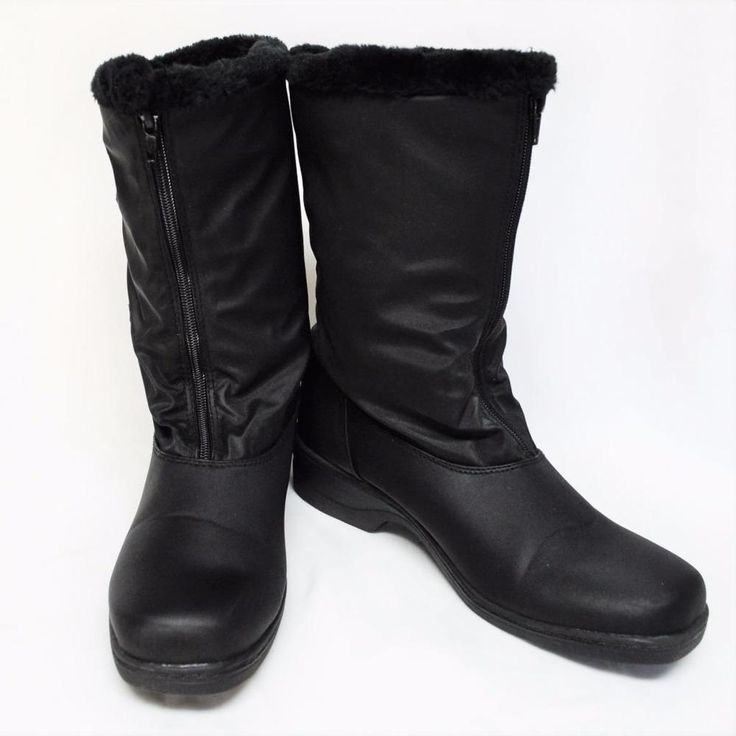 NEW Boston Accent Snow Womens 9M Snow Boots Black Faux Fur Full Front Zip Vegan #BostonAccent #SnowWinterBoots #WeartoWork