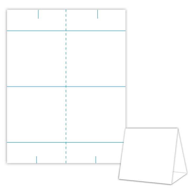 Table tent design template blank table tent white for Design table name cards