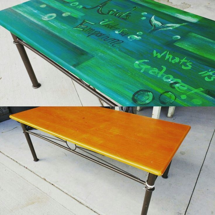 Before...ugly oak table.... After...Ariels Undersea Emporium