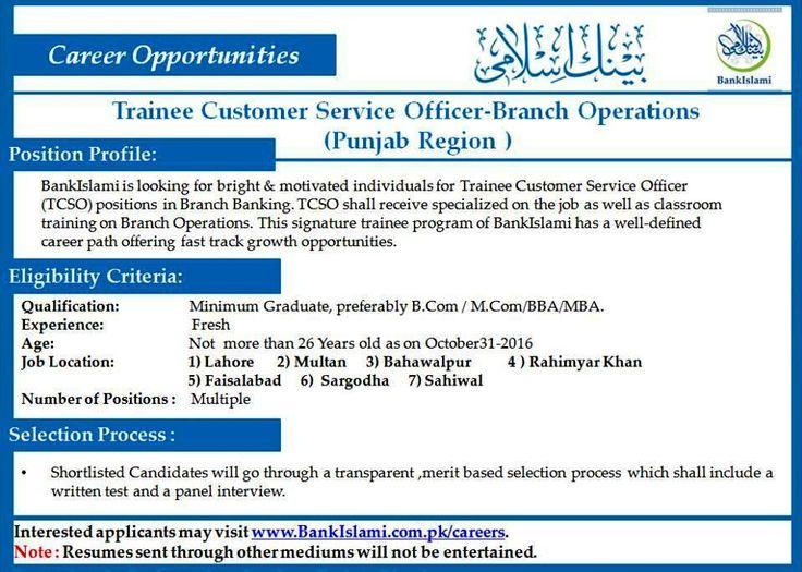Trainee Customer Service Officer Bank Islami Job Tcso  October