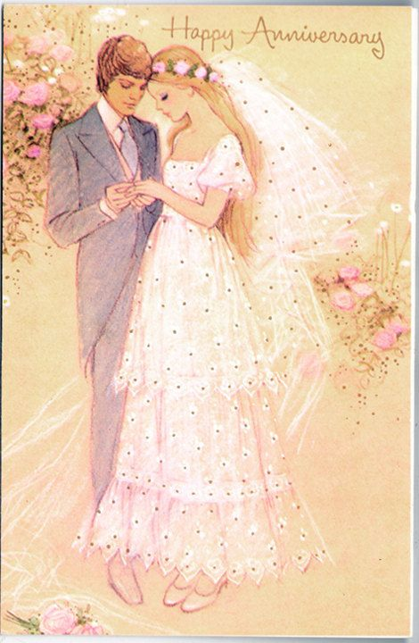 Circa 1970s Happy Anniversary greeting card vintage Young Newlyweds - Free U.S. shipping on Etsy, $7.00