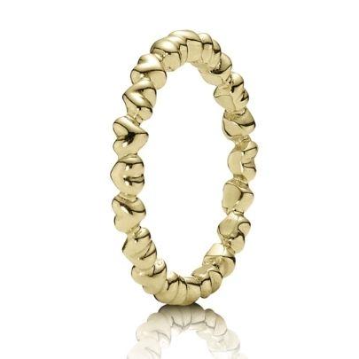 Pandora 14ct Gold Heart Band Ring 150160 from Pandora at £315.00