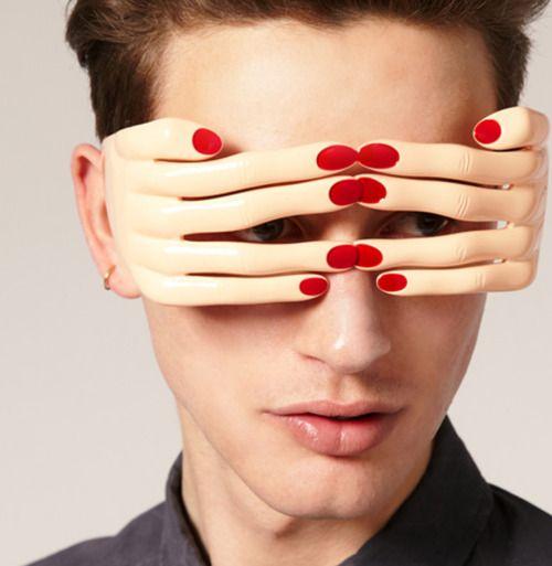 Jeremy Scott for Linda Farrow - The Hands Sunglasses in Flesh