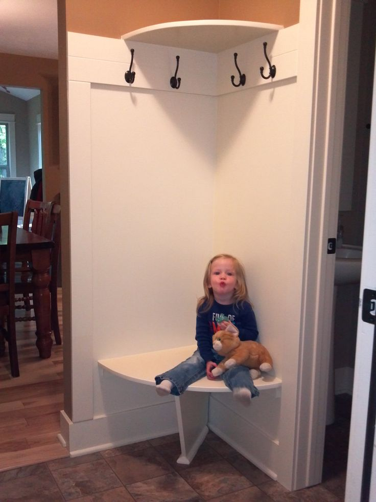 Corner Bench and Shelf for small mud room ((Oooooh... this gave me an idea!! Could do this behind the front door and just cubbies, etc on the other side?!))