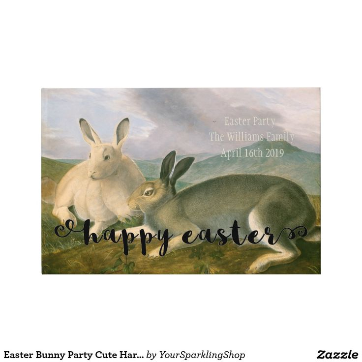 #Easter #Party Cute Hare Couple Watercolor #Guestbook #AddYourText