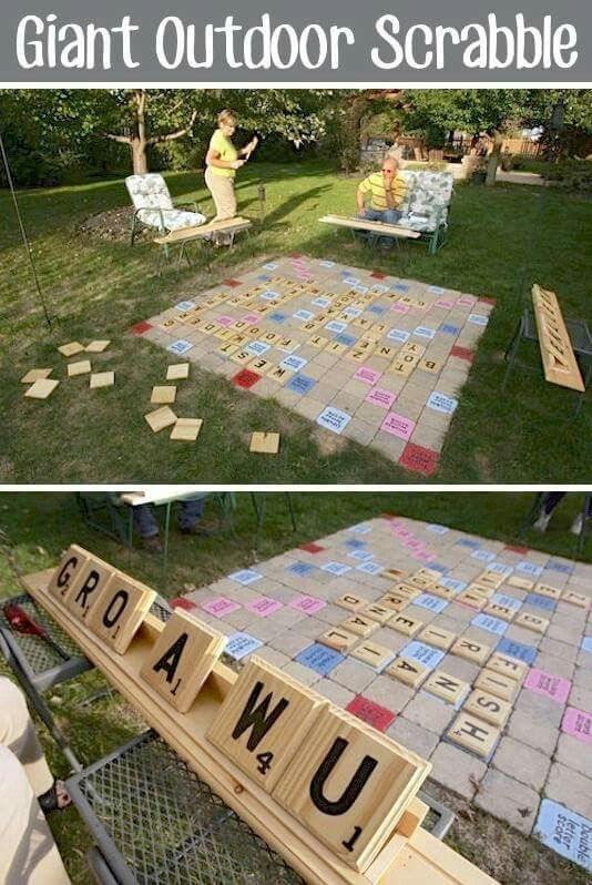 An Ohio couple used pavers, craft-store wood plaques and reconfigured shelves to create an 8-foot Scrabble game that brings the fun into the backyard.