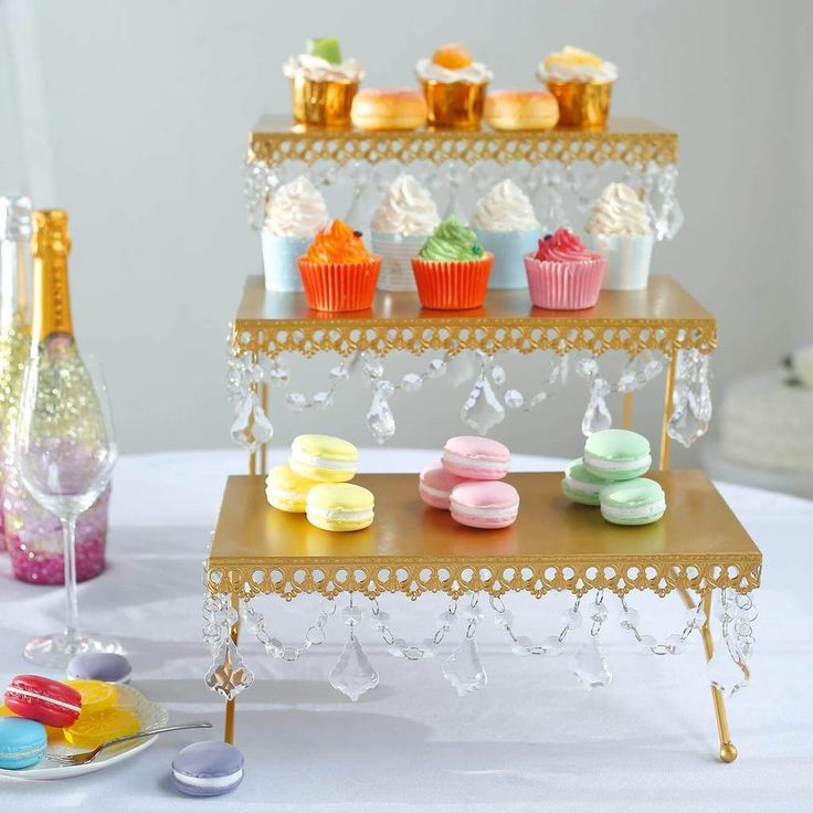 15 tall gold metal 3 tier serving stand cupcake