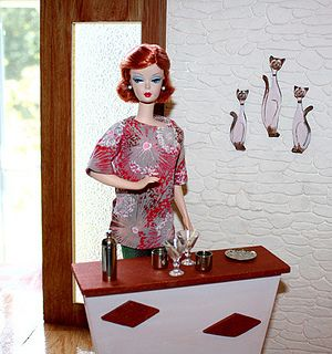 """Barbie wearing """"Retros"""" by Liz Cole !   Flickr - Photo Sharing!  Barbie looks like she needs a drink alright!"""
