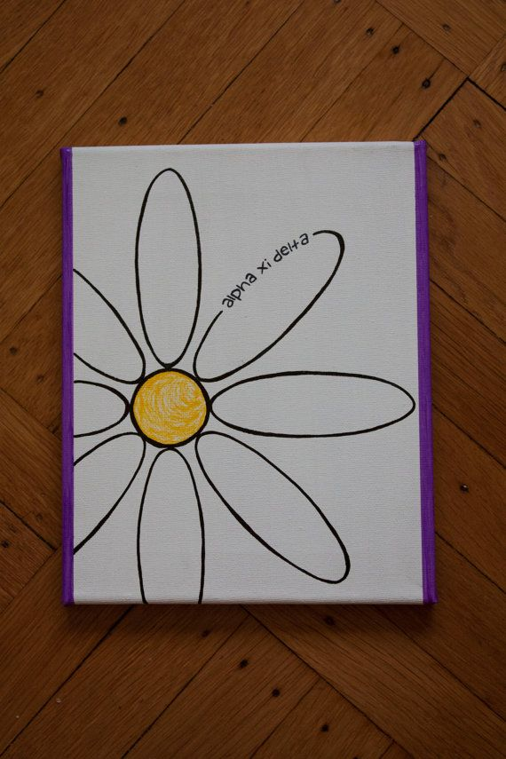 Alpha Xi Delta Floral Canvas by ReesesArtPieces on Etsy, $13.00