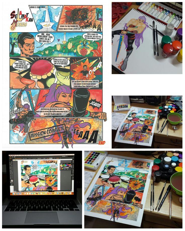 Kangeeeennn berkarya 😢 Ini adalah tugas ke-2 matkul Komik semester 5 tahun 2015. Pengerjaan sketsa - pewarnaan manual, teks digital  #ryn #komik #kepahlawanan #indonesia #manual #artwork #ryn #rynyulian #portfolio #dkv #deskomvis #dekave #untar #dkvuntar #bisnis #gambar #hand #drawing #painting #freehand #komik #comics #karakter #character  #characterdesign #indonesia #design #art #business #freelance #designer #graphic
