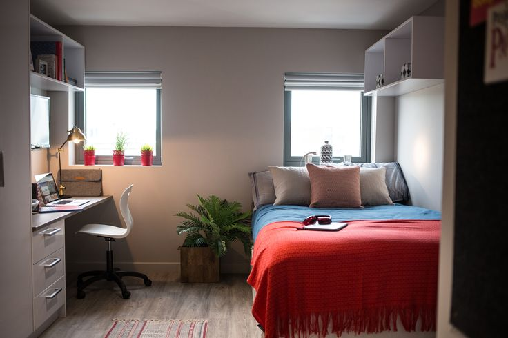 The Stansons solution consisted of 392 Armour double roller blinds in a variety of widths and drops, using a Marston black-out fabric and Hattin 10% vision fabric, completely colourfast and fire retardant to BS5867. #Student #Accommodation #Shading #University #Blinds #InteriorDesign