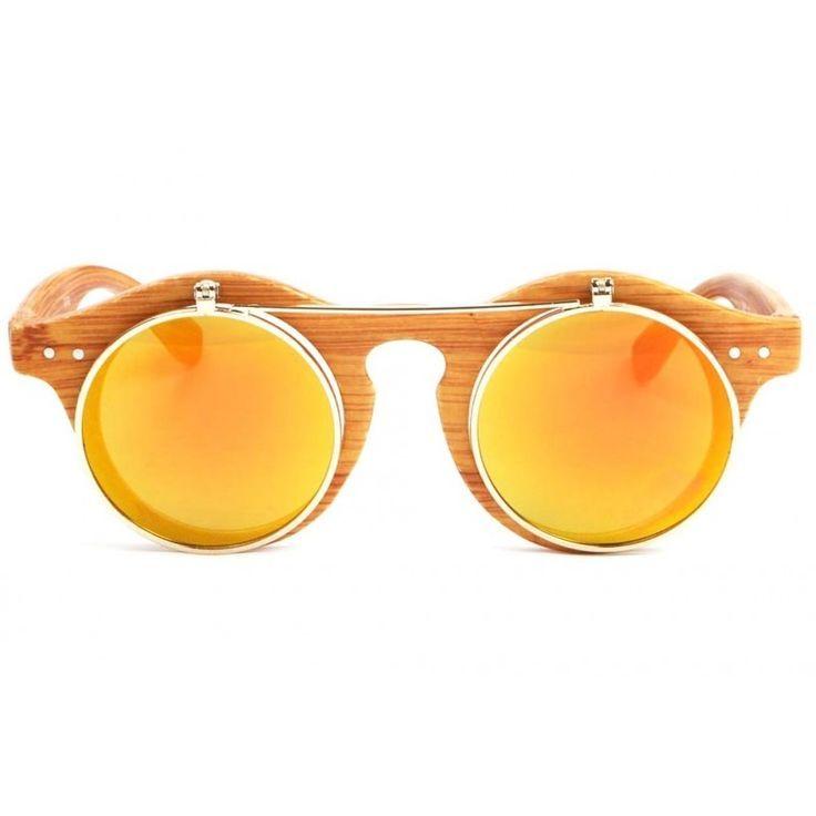 Lunettes loupe rondes miroir doré monture bois Koyk | Miroir