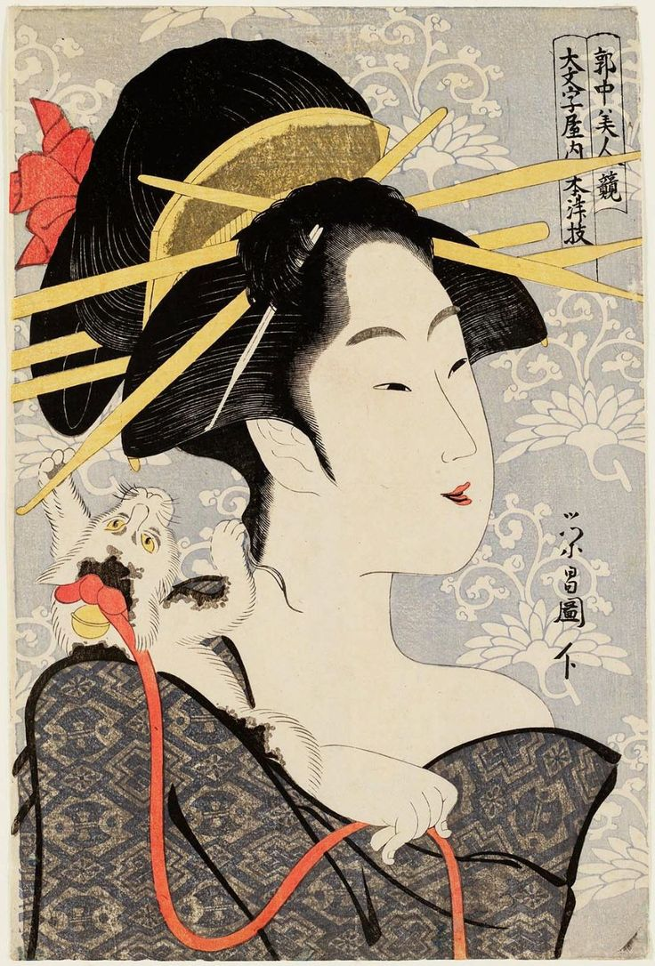 [] 浮世絵の猫 [] Motozue Daimonjiya 'Contest of Beauties of the Pleasure Quarters' [] [] by Chōkōsai Eishō 鳥高斎栄昌 [] 鳥文斎栄之の門人。別号に昌栄堂。姓名不詳。作画期は寛政5年(1793年)から寛政11年(1799年)にかけてで、錦絵、黄表紙の挿絵、肉筆浮世絵数点が知られる。錦絵では喜多川歌麿風の美人大首絵が約200点ほど知られている。代表作としては、版元山口屋忠助から版行した寛政7年(1795年)から寛政8年(1796年)の作とされる錦絵「郭中美人競」、「当世美人合」、肉筆「蚊帳美人図」(光記念館所蔵)、「隅田川図巻」(浮世絵大田記念美術館所蔵)などが知られる。錦絵の「若那屋内白露図」(東京国立博物館所蔵)には、「昌栄堂栄昌」の落款が見られる。また寛政10年(1798年)に黄表紙4点の挿絵を描いている。
