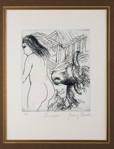 Garry Shead 'Europa' - etching on paper, framed. – Angela Tandori Fine Art