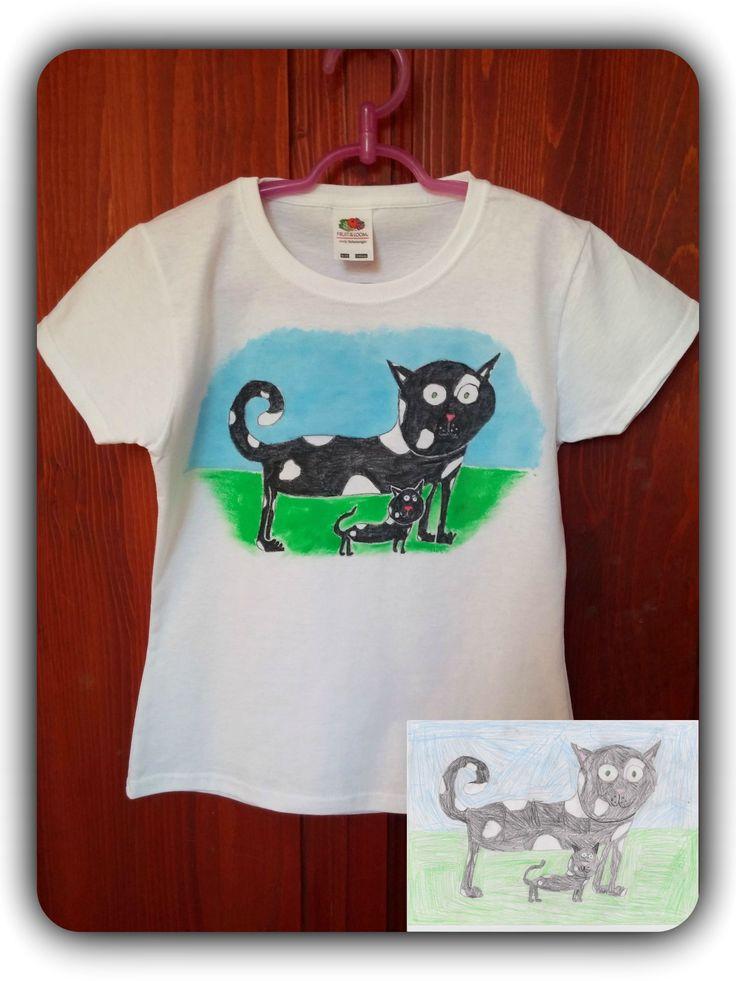 6 éves kislány rajza alapján, kézzel festett gyerek póló