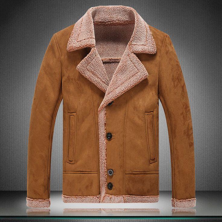 2015 yeni erkek süet deri ceketler kış kürk mantolar boyutu m-5xlfaux kürk mantolar erkek rahat yün giyim sıcak polar astar(China (Mainland))