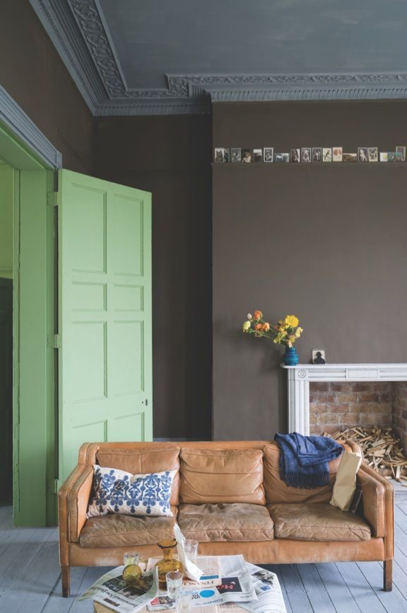 Grey Walls With Pea Green Accent And Leather Sofa Meet Farrow Ball S Latest Paint