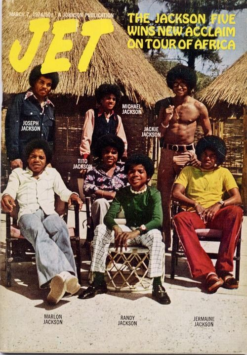 The Jackson 5 in Africa  (Jet Magazine, May 1974) (L-R Joe Jackson, Michael Jackson, Jackie Jackson, Marlon Jackson, Tito Jackson, Randy Jackson, and Jermaine Jackson.)