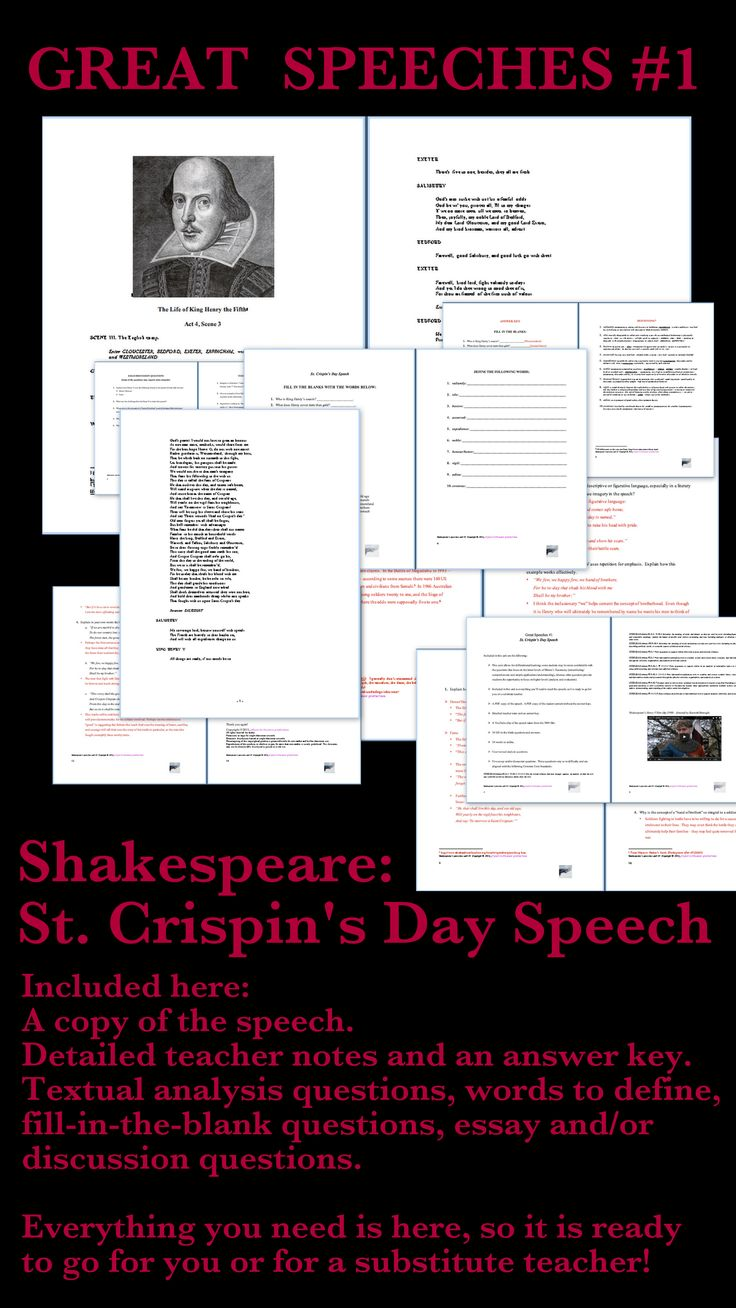 Begin your school year with small manageable assignments before you turn to larger textbooks.  I use famous speeches to introduce my students to themes that I will develop during the semester.  My speech units are self-contained and ready to go for you or a substitute teacher!  This unit focuses on Shakespeare's St. Crispin's Day Speech. This speech raises questions regarding the following: honour, duty, sacrifice, courage, and the concept of immortality through fame. Grades 7 to 12. $