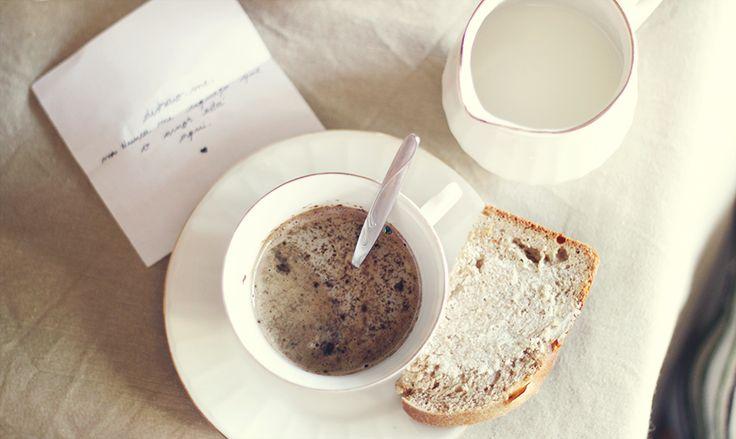 Coffe, honey and cinnamon bread, milk & love note :)