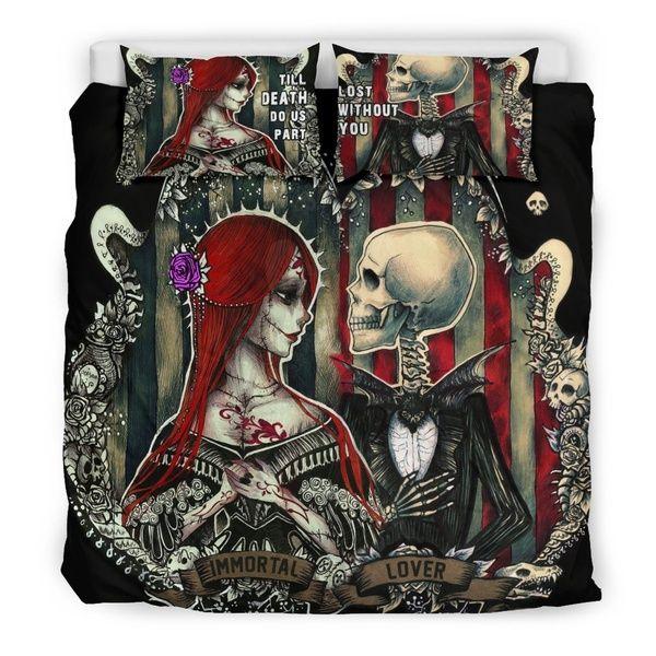 Skull Bedding Duvet Cover, King And Queen Skull Bedding