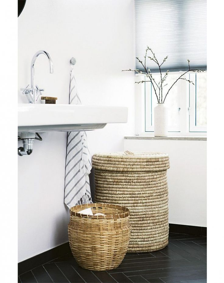 basket storage and laundry hamper in modern black and white bathroom - Bathroom Baskets