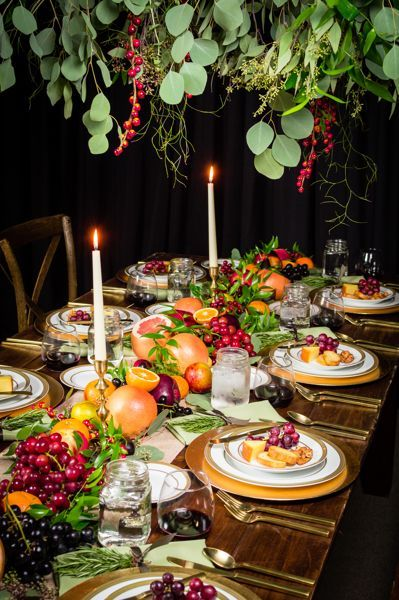 A custom tablescape for Thanksgiving utilizing our X-back chairs and farm table rentals