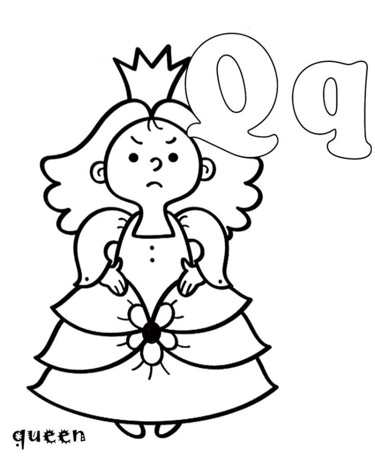 q is for queen coloring pages - photo #8