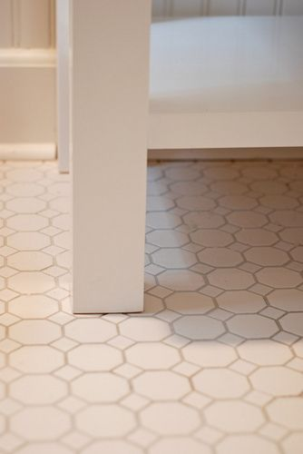 affordable hexagonal tile from Lowe's, grey grout