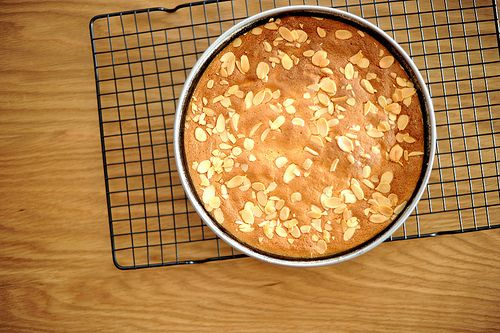 Almond-lemon torte with fresh strawberry puree