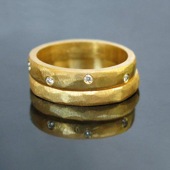 His and hers wedding rings, Wedding ring set, Stacking diamond ring set, Modern…