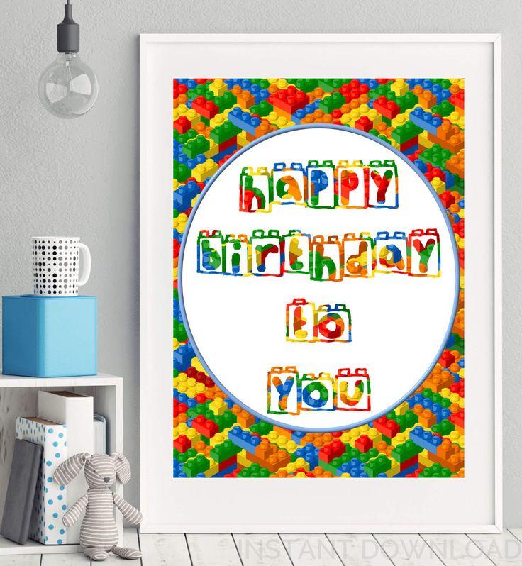 Lego Happy Birthday Instant Download Party Poster, Lego Party Poster, Lego Party Decor, Lego Party Printables, Happy Birthday Poster, Brick