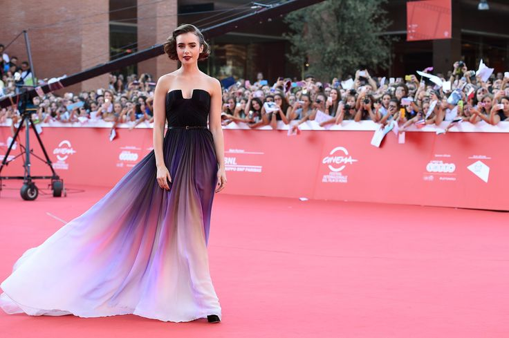 With a Dress Like That, Why Wouldn't They Be?   Lily Collins's Ombré Elie Saab Dress Just Won the Weekend's Red Carpet