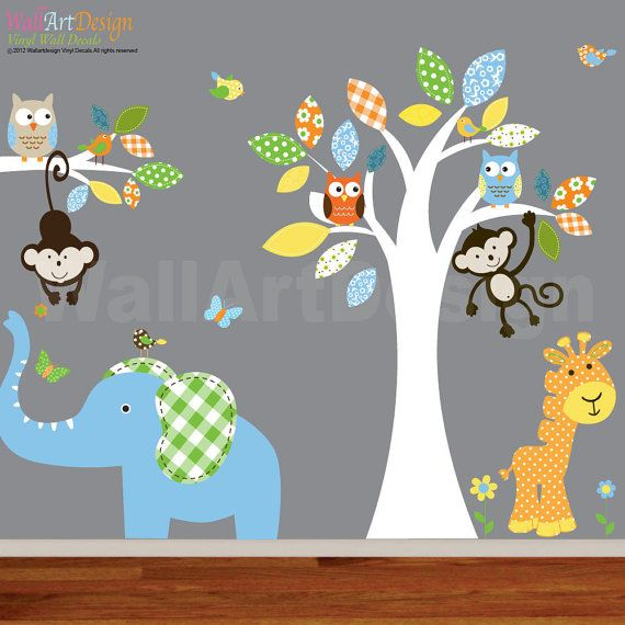 Best Baby Wall Stickers Images On Pinterest Baby Wall - Wall decals animalscartoon animals wall sticker with giraffe monkey lion owl pattern