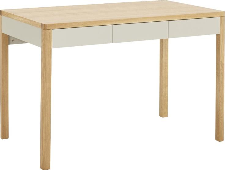 Albion skrivebord i eik med grålakkerte skuffer. Dimensjoner: L113 x H78 x D66cm. Kr. 4650,-