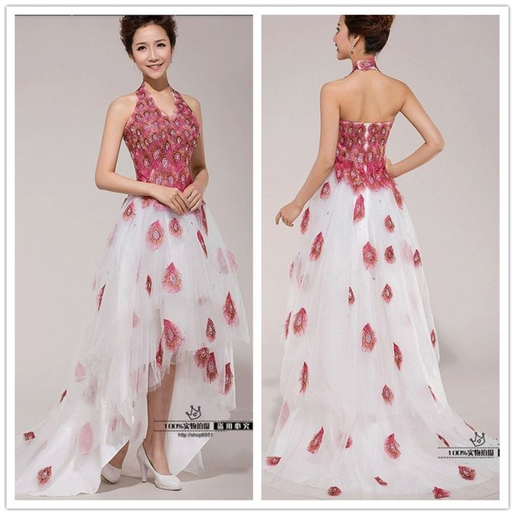 Find More Prom Dresses Information about Peacock Prom Dress High Low Appliques Neck Halter Peacock Feather Prom Dresses High Quality  vestido de festa curto,High Quality fashion dress for wedding,China dress up winter fashion Suppliers, Cheap dress pants no belt from Princess Sally International Co.,Ltd. on Aliexpress.com