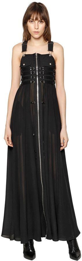 Diesel Black Gold Dalizee Silk Maxi Dress W/ Zip