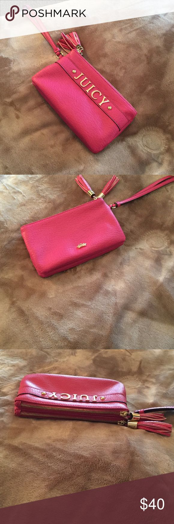 Women's Wristlet Hot pink with gold lettering- two pockets for putting stuff- AUTHENTIC NWOT Juicy Couture Bags Clutches & Wristlets