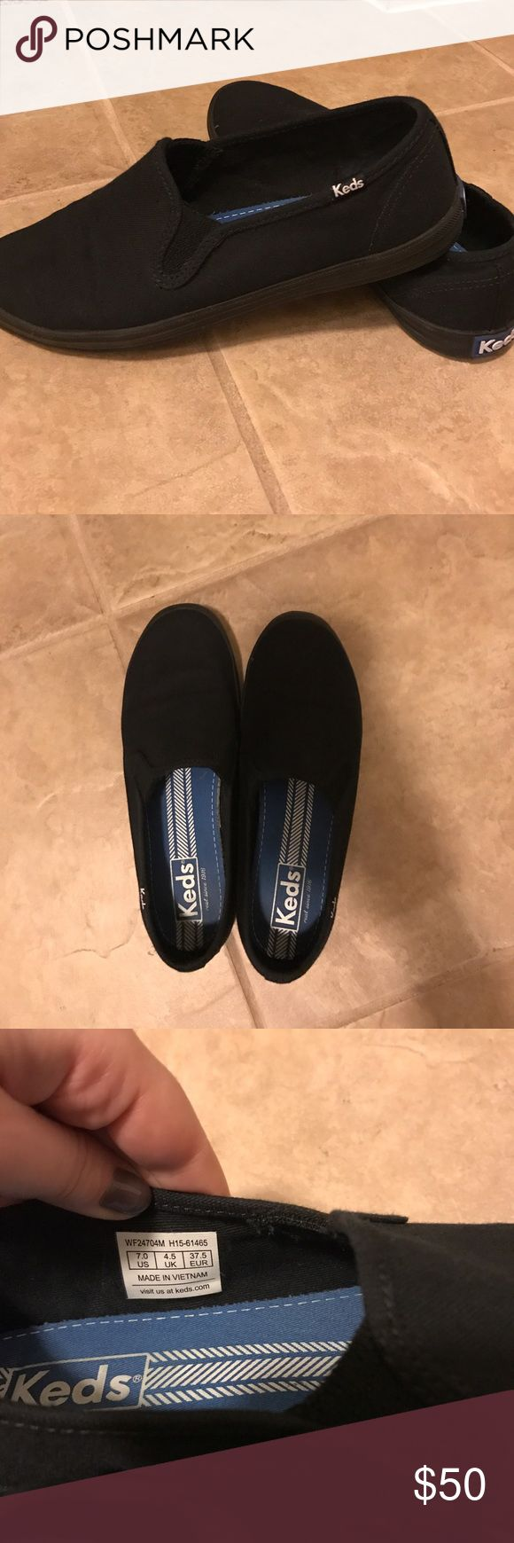 Size 7 black Keds slip on's As you can see from the pictures these are in perfect condition , just don't fit me and I've worn them only a couple times so I could not  return them. Reasonable offers please :) Keds Shoes